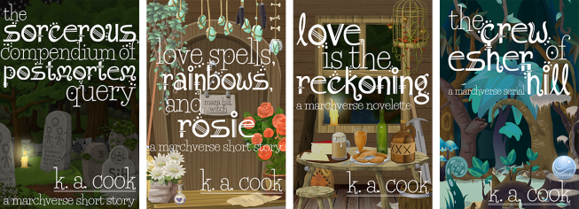 Four book covers, depicting cartoon-style fantasy images of a graveyard, a witch's front door, a taproom and a swamp, all with white type and author credit. The books are as follows: The Sorcerous Compendium of Postmortem Query; Love Spells, Rainbows and Rosie; Love is the Reckoning; and The Crew of Esher Hill, all by K. A. Cook.
