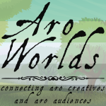 Cartoon image of grassland with two evergreen-style trees to both sides of the image, overlaid with the dark green/light green/white/grey/black stripes of the aro pride flag. The text Aro Worlds Connecting Aro Creatives and Aro Audiences sits across the image in a black, antique handdrawn type.