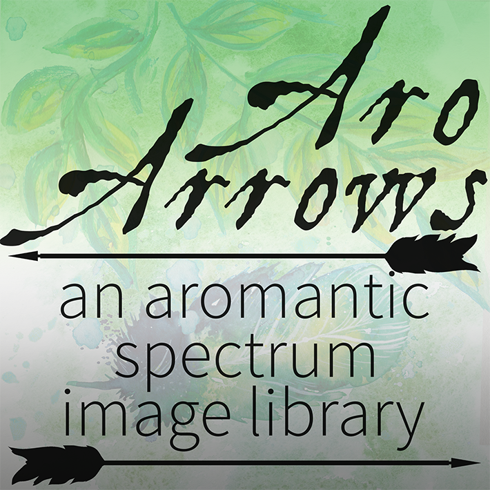 Black text reading Aro Arrows An Aromantic Spectrum Image Library against a green watercolour background of leaves and feathers with a faint aro flag gradient overlay.