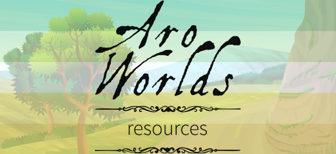 Handdrawn illustration of a mountain road scene with trees in the foreground and bushes in the background. Scene is overlaid with the dark green/light green/white/yellow/gold stripes of the allo-aro pride flag. The text Aro Worlds Resources sits across the image in a black, antique handdrawn type, separated by two ornate Victorian-style black dividers.