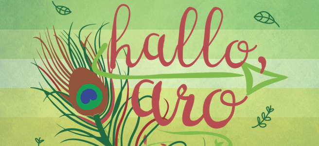 Cover image for Hallo, Aro Allosexual Aromantic Flash Fiction. Cover features dark pink handwritten type on a mottled green background with a large line-drawn peacock feather, several sketch-style leaves and swirly text dividers. Green arrows sit underneath each line of text. A translucent overlay of the green/light green/white/yellow/gold alloaro flag sits underneath the text.
