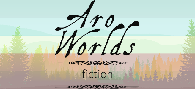 Handdrawn illustration of a green meadow foreground with green and yellow pine trees growing against a mint-hued sky. Scene is overlaid with the aqua/yellow/red stripes of the autistic aromantic pride flag. The text Aro Worlds Fiction sits across the image in a black, antique handdrawn type, separated by two ornate Victorian-style black dividers.