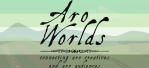 Cartoon image of farmland and rolling hills, overlaid with the dark green/light green/white/grey/black stripes of the aro pride flag. The text Aro Worlds Connecting Aro Creatives and Aro Audiences sits across the image in a black, antique handdrawn type.
