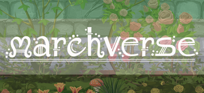 Cartoon-style illustration of shrubs, roses and grasses growing against a grey stone wall. Scene is overlaid with the dark green/light green/white/grey/black stripes of the aro pride flag. The text Marchverse sits across the image in a white, fantasy-style type.