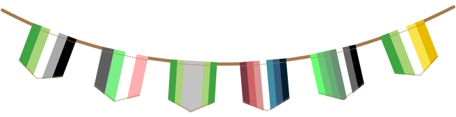 Bunting image displaying six flags hanging from a brown rope. From left to right, flags are: green aromantic, idemromantic, arovague, nebularomantic, myrromantic and allo-aro.