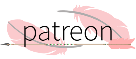 Text Patreon in black lettering above an image of an arrow decorated with idemromantic pride colour banding against a background of two pink feathers.