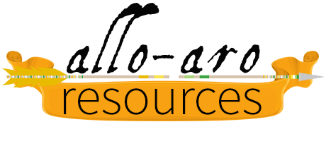 Text Allo Aro Resources in black lettering above an image of an arrow decorated with allo-aro pride colour banding. An orange banner sits behind the word resources.