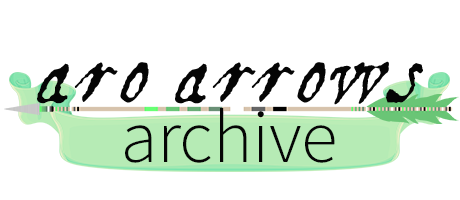 Text Aro Arrows Archive in black lettering above an image of an arrow decorated with myrromantic pride colour banding. A green banner sits behind the word archive.