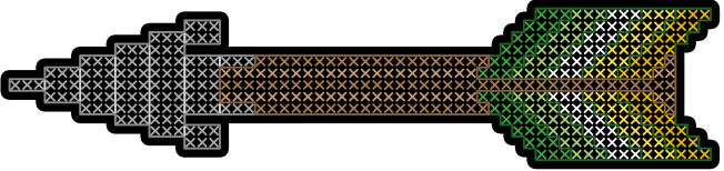 A digital sticker, on a transparent background, of an arrow made from rows of coloured crosses, resembling cross stitch. The arrow has a grey triangular arrowhead, a brown shaft and fletching striped in the dark green/light green/white/yellow/gold colours of the allo-aro pride flag. The arrow is surrounded by a thick black outline.