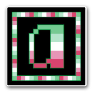 """A pixel art icon of the lower-case letter """"a"""" surrounded by a square frame on a black background. Both frame and letter are striped in the colours of the abroromantic/sexual flag (dark mint/light mint/white/light pink/dark pink)."""