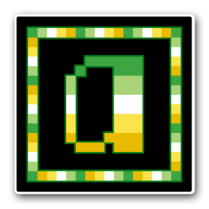 "A pixel art icon of the lower-case letter ""a"" surrounded by a square frame on a black background. Both frame and letter are striped in the colours of the alloaro flag (dark green/light green/white/yellow/gold)."