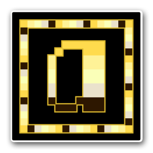 """A pixel art icon of the lower-case letter """"a"""" surrounded by a square frame on a black background. Both frame and letter are striped in the colours of the angled aro-ace flag (gold/yellow/lemon/ecru/brown)."""