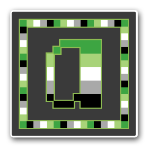 """A pixel art icon of the lower-case letter """"a"""" surrounded by a square frame on a grey background. Both frame and letter are striped in the colours of the aromantic flag (dark green/light green/white/grey/black)."""