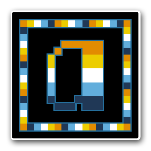 """A pixel art icon of the lower-case letter """"a"""" surrounded by a square frame on a black background. Both frame and letter are striped in the colours of the aroace flag (orange/yellow/white/blue/navy)."""
