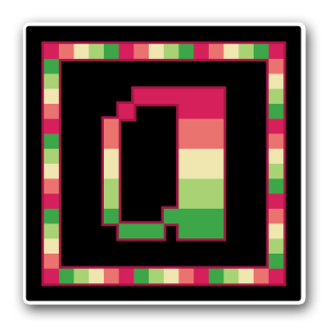 """A pixel art icon of the lower-case letter """"a"""" surrounded by a square frame on a black background. Both frame and letter are striped in the colours of the aroflux flag (pink/coral/lemon/light green/dark green)."""