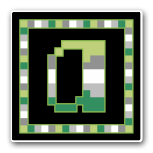 """A pixel art icon of the lower-case letter """"a"""" surrounded by a square frame on a black background. Both frame and letter are striped in the colours of the arojump flag (light green/grey/white/lighter grey/dark green)."""