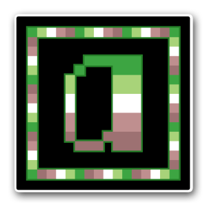 """A pixel art icon of the lower-case letter """"a"""" surrounded by a square frame on a black background. Both frame and letter are striped in the colours of the neu aromantic flag (dark green/light green/white/light mauve/dark mauve)."""