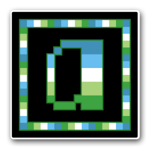 "A pixel art icon of the lower-case letter ""a"" surrounded by a square frame on a black background. Both frame and letter are striped in the colours of the aromid flag (dark blue/light blue/white/light green/dark green)."