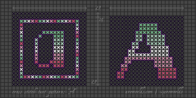"Two square cross stitch patterns with the letter ""a"" in lower-case and upper-case lettering. The lower-case design has a square border around it; the upper case has none. Both letters, and the border, are striped in the colours of the dark mint/light mint/white/light pink/dark pink abro flag, on a dark black-purple background. Both letters are outlined in violet."