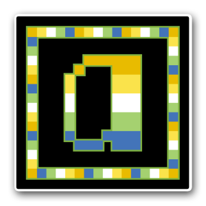 "A pixel art icon of the lower-case letter ""a"" surrounded by a square frame on a black background. Both frame and letter are striped in the colours of an alloaro aplatonic flag (gold/yellow/white/green/blue)."