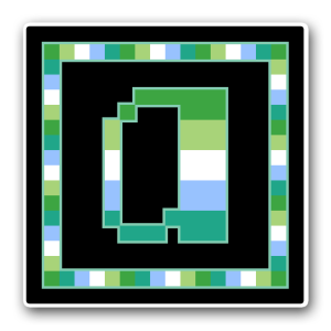 """A pixel art icon of the lower-case letter """"a"""" surrounded by a square frame on a black background. Both frame and letter are striped in the colours of an alloaro gay (male/masc) flag (dark green/light green/white/blue/teal)."""