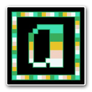 "A pixel art icon of the lower-case letter ""a"" surrounded by a square frame on a black background. Both frame and letter are striped in the colours of an alloarogender flag (teal/green/gold/pale peach/white)."