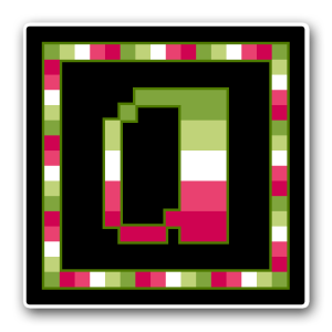 "A pixel art icon of the lower-case letter ""a"" surrounded by a square frame on a black background. Both frame and letter are striped in the colours of an alloaro lesbian flag (dark green/light green/white/pink/dark pink)."