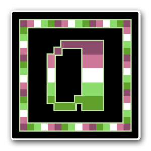 """A pixel art icon of the lower-case letter """"a"""" surrounded by a square frame on a black background. Both frame and letter are striped in the colours of an alloaro polysexual flag (maroon/pink/white/lime/green)."""