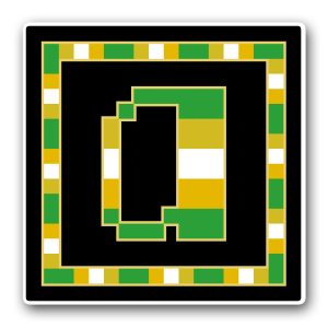 "A pixel art icon of the lower-case letter ""a"" surrounded by a square frame on a black background. Both frame and letter are striped in the colours of an alloaro greyromantic flag (green/gold/white/gold/green)."