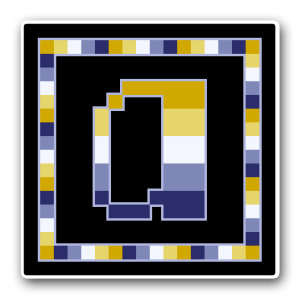 """A pixel art icon of the lower-case letter """"a"""" surrounded by a square frame on a black background. Both frame and letter are striped in the colours of an oriented alloaro flag (gold/yellow/white/blue/dark blue)."""