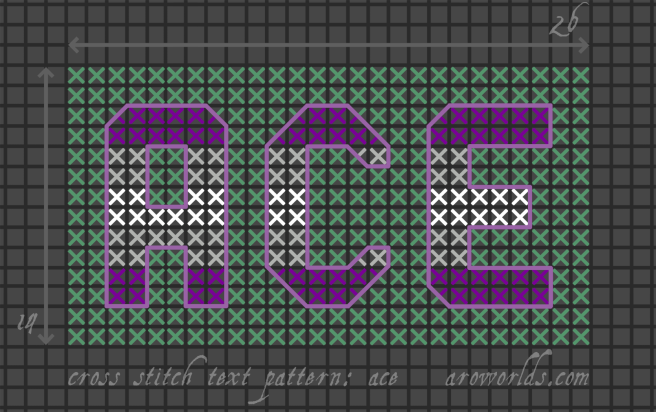 Cross stitch pattern with the text ace in block lettering, striped in the colours of the purple/grey/white/grey/purple greysexual/grey asexual flag, on an aqua background.