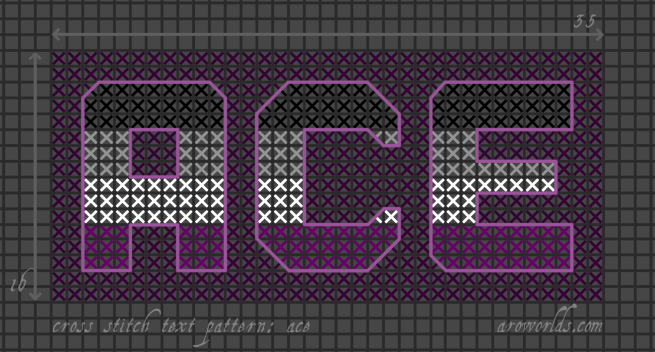 Cross stitch pattern with the text ace in block lettering, striped in the colours of the black/grey/white/purple ace flag, on a violet background.