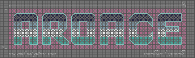 Cross stitch pattern with the text aroace in block lettering, striped in the colours of the navy/blue/white/teal oriented aroace flag, on a light pink background.