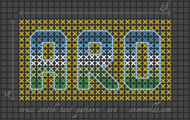 Cross stitch pattern with the text aro in block lettering, striped in the colours of the blue/turquoise/white/light green/dark green non-SAM aro flag, on a mustard background.
