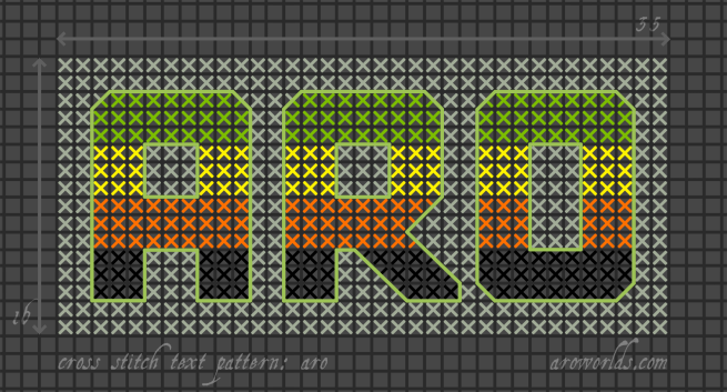 Cross stitch pattern with the text aro in block lettering, striped in the colours of the old green/yellow/orange/black aro flag, on a mint background.
