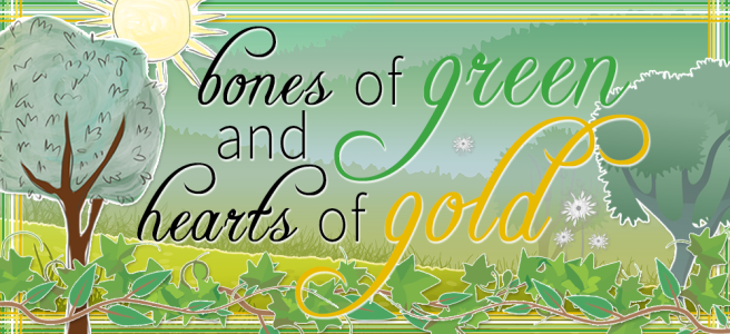 Banner for Bones of Green and Hearts of Gold. Image features a tree landscape background with a grassy foreground, tinted to resemble the greens descending into golds hues of the allo-aro flag. A sun sits in the top left corner and the bottom of the foreground is layered with ivy leaves and trailing vines. Text is written in black handdrawn script with the words green and gold in their respective colours. A cross-hatching frame in the colours of the allo-aro flag surrounds the banner.