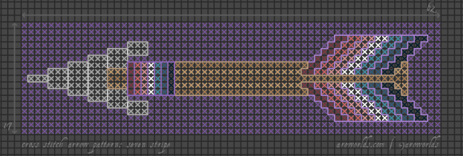 A cross stitch pattern for an arrow design with an elongated triangle arrowhead in grey, a tan shaft, nebularomantic pride flag fletching, nebularomantic binding where shaft meets arrowhead, and a purple background. Outline stitching in a dark grey frames the arrowhead, with lighter grey lines of back stitching running down the head; the tan shaft is framed in a darker tan; and purple stitches outline the fletching and binding.