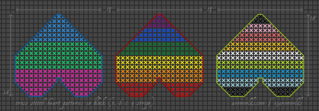 A cross stitch pattern for three different heart patches. The left-hand patch has three stripes, in the colours of the polysexual flag, and is framed in a darker blue outline. The middle patch has six stripes, in the colours of the rainbow/LGBTQIA+/gay flag, and is framed in a darker red outline. The right-hand patch has nine stripes, in the colours of a queer flag, and is framed in a brighter green outline.
