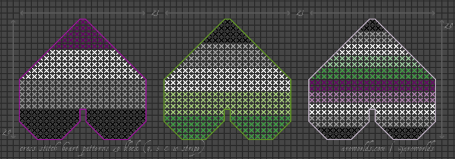 A cross stitch pattern for three different heart patches. The left-hand patch has four stripes, in the colours of the asexual flag, and is framed in a darker purple outline. The middle patch has five stripes, in the colours of the aromantic flag, and is framed in a darker green outline. The right-hand patch has ten stripes, in the colours of an a-spec flag, and is framed in a lighter purple outline.