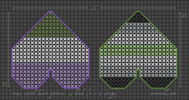 A cross stitch pattern for two different heart patches. The left-hand patch has three stripes, in the colours of the genderqueer flag, and is framed in a darker purple outline. The right-hand patch has seven stripes, in the colours of the agender flag, and is framed in a darker purple outline.