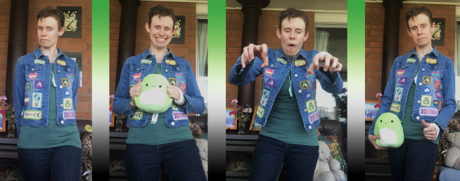 A photo montage of a thin, white person with short brownish blond hair, poking-out ears and a long, oval-shaped face wearing the patch-covered denim jacket. Ze also wears dark blue jeans, a dark green T-shirt and a mint green chewable feather-pendant necklace, and in some photos holds a green plush toy (a turtle) that looks like a pea. Ze wears a grey and black brace on hir left wrist. In one photo ze looks off to the side, in another ze smiles, in the third ze gives a thumbs up with hir brace-wearing hand and in the fourth ze holds hir hands out zombie-style.