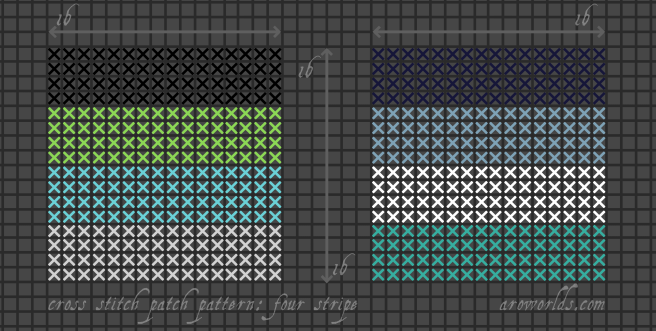 Two square four-stripe cross stitch pride flag patterns, striped in the colours of the black/green/turquoise/light grey quoiromantic flag and the dark blue/light blue/white/teal oriented aro-ace flag.