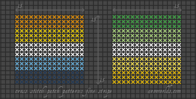 Two square five-stripe cross stitch pride flag patterns, striped in the colours of the dark green/light green/white/yellow/gold allo-aro flag and the orange/yellow/white/light blue/dark blue aro-ace flag.
