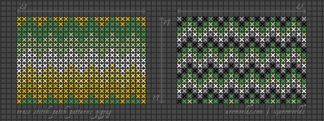 Two rectangular cross stitch pride flag patterns with zigzag stripes, striped in the colours of the dark green/light green/white/yellow/gold allo-aro flag and the dark green/light green/white/grey/black aromantic flag. The allo-aro flag patch has a simple wide stripe with no repetitions; the aromantic flag patch has many narrow stripes repeated down the patch.