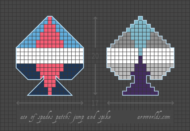 A cross stitch pattern for two different ace of spades patches on a grey grid background. The left-hand patch has three stripes, in the colours of the light blue/white/navy aro-ace spike flag, with a pink spike in the centre. The right-hand patch has five stripes, in the colours of the light blue/grey/white/grey/indigo aro-ace jump flag; two spikes reach from the blue stripes towards the centre. Both designs are outlined in light blue.