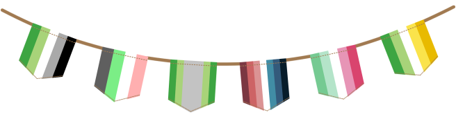 Bunting image displaying six flags hanging from a brown rope. From left to right, flags are: green aromantic, idemromantic, arovague, nebularomantic, abroromantic and allo-aro.