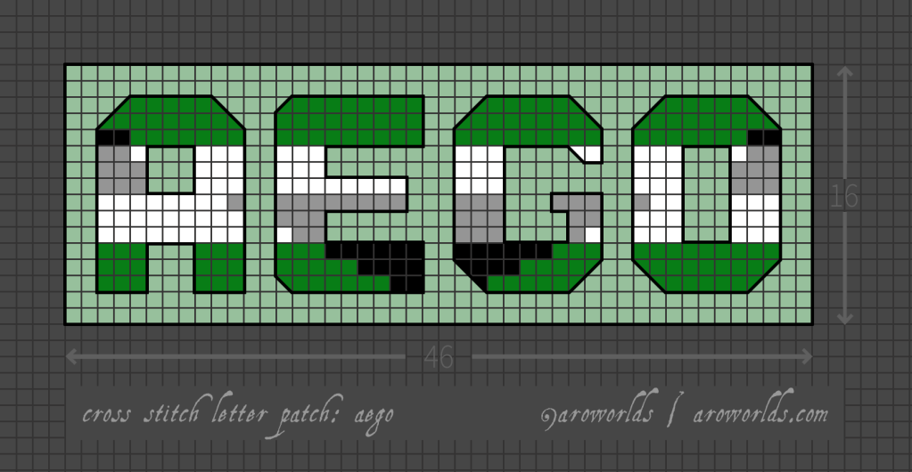Aego cross stitch patch pattern with the text aego in upper-case block lettering, striped in the colours of the black/grey/white/green aego flag, with a mint background. Pattern is set on a light grey grid. Letters are outlined, indicating backstitch, in black. A pixelated triangle, decreasing towards the centre, has been laid over the letters in reverse stripe order.