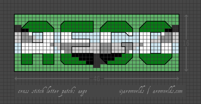 Aego cross stitch patch pattern with the text aego in upper-case block lettering, striped in the colours of the black/grey/white/green aego flag, with a mint background. Pattern is set on a light grey grid. Letters are outlined, indicating backstitch, in black. A pixelated triangle, decreasing towards the centre, has been laid over the letters and background in reverse stripe order.