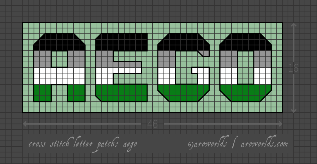 Aego cross stitch patch pattern with the text aego in upper-case block lettering, striped in the colours of the black/grey/white/green aego flag, with a mint background. Pattern is set on a light grey grid. Letters are outlined, indicating backstitch, in black.