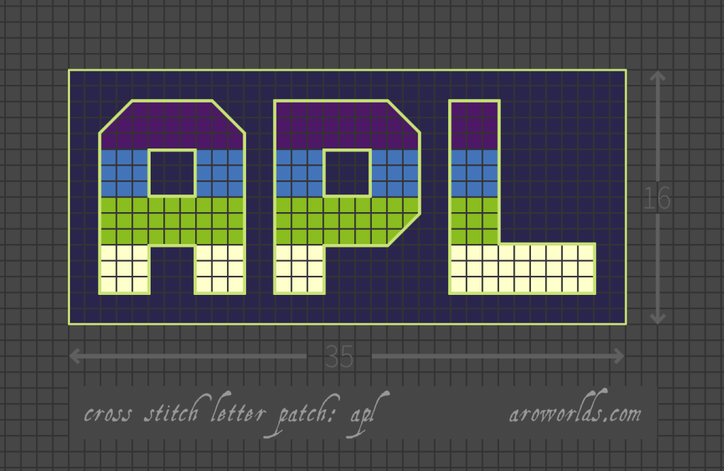 Aplatonic cross stitch patch pattern with the text apl in upper-case block lettering, striped in the colours of the violet/blue/green/cream pride flag, with an indigo background. Pattern is set on a light grey grid. Letters are outlined, indicating backstitch, in light green.